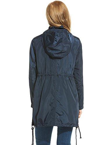 Foncé Imperméable Meaneor Manteau Femme Bleu xf8I1T