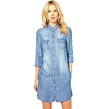 Escalier Women's Jeans Roll Sleeve Button Down Shirt Denim Dress