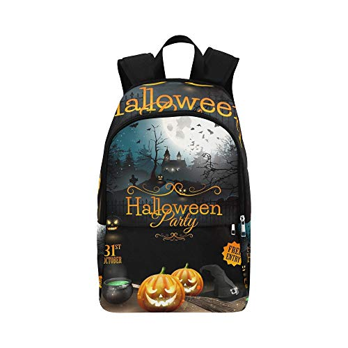 YSWPNA Halloween Party Flyer Pumpkins Hat Pot Casual Daypack Travel Bag College School Backpack for Mens and Women -