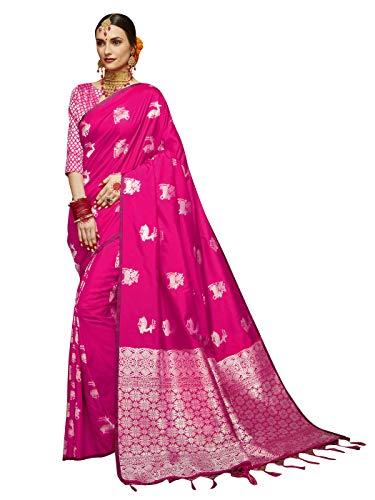 Sarees for Women Banarasi Art Silk Woven Saree l Indian Ethnic Wedding Gift Sari with Unstitched Blouse Pink