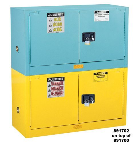 Justrite Safety Storage Cabinet (Justrite 891322 Sure-Grip EX Galvanized Steel 2 Door Self Close Piggyback Corrosives Safety Storage Cabinet, 12 Gallon Capacity, 43