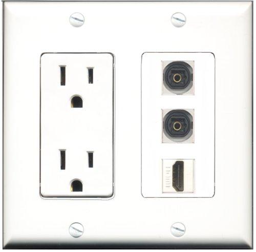 RiteAV - 15 Amp Power Outlet 1 Port HDMI 2 Port Toslink Deco