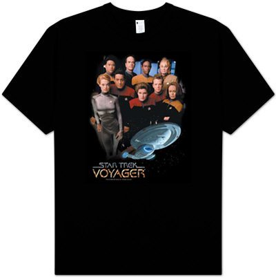 Star Trek VOYAGER CREW Awesome Adult Black T-shirt, XL