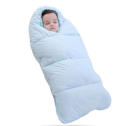 MTTLS Edredón de Saco de Dormir Bebe Swaddle Wrap Manta Suave Temperatura Control Inteligente, Blue