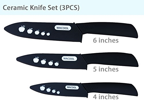 WACOOL Ceramic Knife Set 3-Piece (Includes 6-inch Chef's Knife, 5-inch Utility Knife and 4-inch Fruit Paring Knife), with 3 Knife Sheaths for Each Blade (Black Handle) by WACOOL (Image #1)