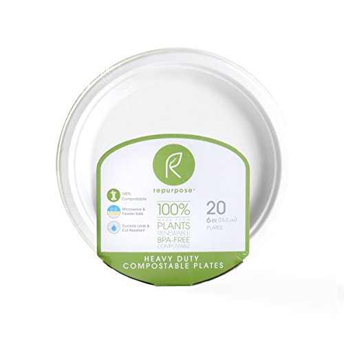 (Repurpose 100% Compostable, Tree Free, Plant-Based Plates, Round, 6 inch (480 Count) )