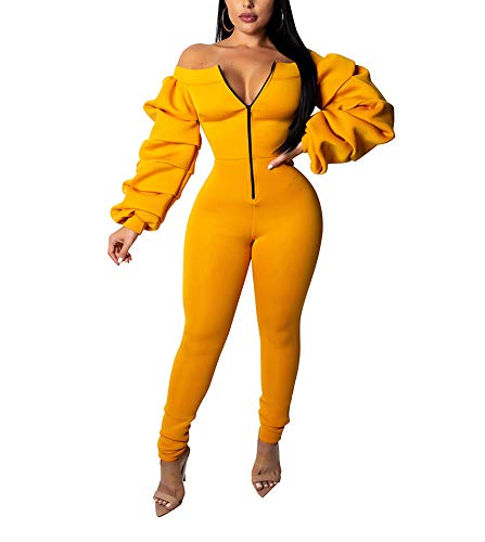 Ophestin Women Front Zipper Sexy Club Long Rompers Off Shoulder Bodycon Tight Jumpsuits Rompers Yellow M