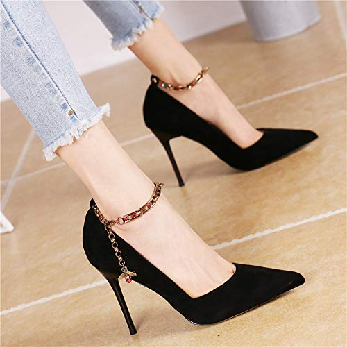 sept One Gules word Chain Stiletto Kphy Printemps t Chaussures Talons Sexy Ribbon elegant Suede Mode La Hauts Trente wqxqTZt