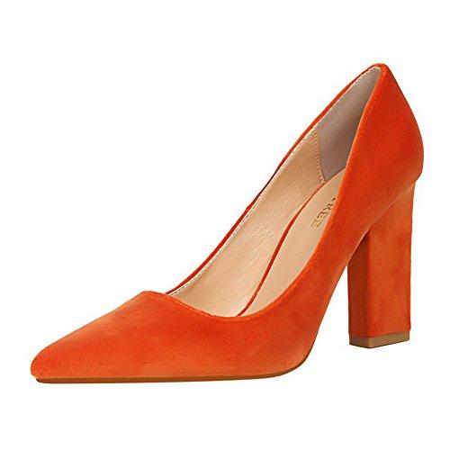 Alti Da on Punta Tacchi Camoscio Donna Imitato Weenfashion scarpe punta Pull Arancione Di Pompe 75aq1W7