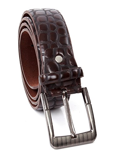 Crocodile Print Men's PU Leather Designer Dress Belt (S/M, BROWN) ()