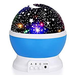 Kids Star Night Light, 360-Degree Rotating Star Projector, Desk Lamp 4 LEDs 8 Colors Changing with USB Cable, Best for…