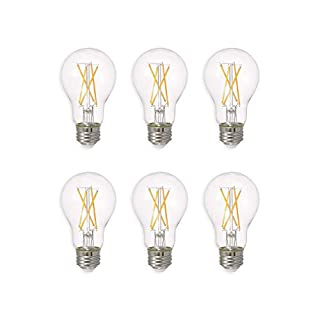 SYLVANIA General Lighting 40806 58W, Soft White Sylvania LED A19 Natural Light Series, 60W Equivalent, Efficient 8W, Dimmable, Clear Finish, 2700K Color Temperature, 6 Pack
