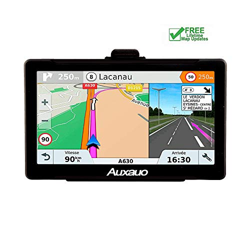 GPS Navigation for Car AUXAUO 7 inch 8GB&256MB GPS Navigation System,Spoken Turn- to-Turn Traffic Alert Vehicle Car GPS Navigator,Lifetime Free Map Updates