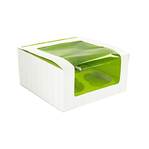 PacknWood Cupcake Box with Window, Holds 4 Cupcakes, 6.7 x 6.7 x 3.3'', Green  (Case of 100)