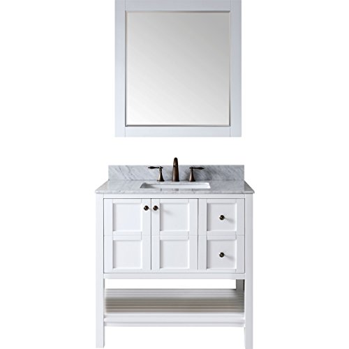 Virtu ES-30036-WMSQ-WH Winterfell Single Bathroom Vanity Cabinet Set, 36″, White Review