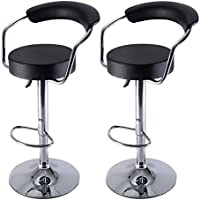 Costway Diner Adjustable Counter Swivel Pub Style Leather Bar Stools / Barstools,Set of 2 (Black)