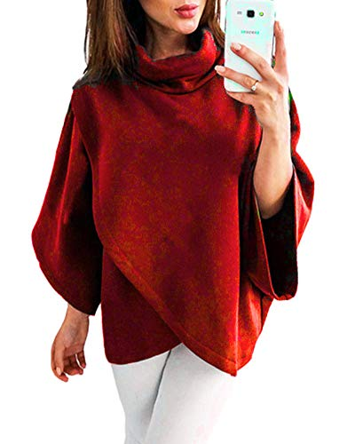ZJFZML Tunic Sweatshirt Pullover Shirt Long Sleeve Women Wrap Asymmetrical Hem Lightweight Basic Attire Petite Athleisure Exercise Clothes Batwing High Round Neck Blouse Wine Red M