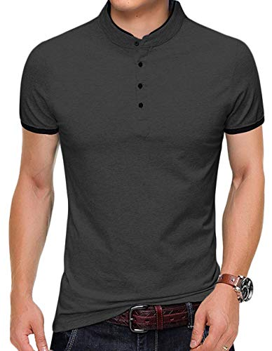 YTD Mens Summer Slim Fit Pure Color Short Sleeve Polo Casual T-Shirts (US XX-Large, Dark Gray) -