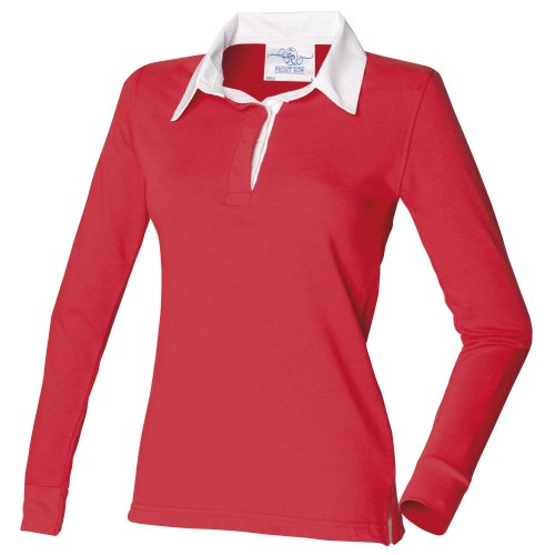 Front Row Womens/Ladies Long Sleeve Plain Sports Rugby Polo Shirt (S) (Red/White)