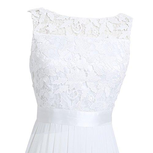 ... iiniim Damen Elegant Abendkleid Brautjungfer Cocktailkleid Chiffon  Faltenrock Langes Kleid Festlich Hochzeit Partykleid Weiß 9pSdPpV6L ... ee00f4b696