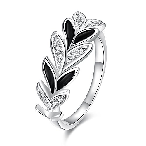Romantic Fate Fashion Crystal Silver Stoving Varnish White and Black Collocation Leaf Shape Ring 7# - Measuring Ruler Costume