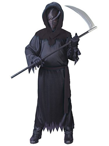 Fun World Big Boys Faceless Ghost Costume Medium (8-10) Black - Robe Halloween Costume Ideas