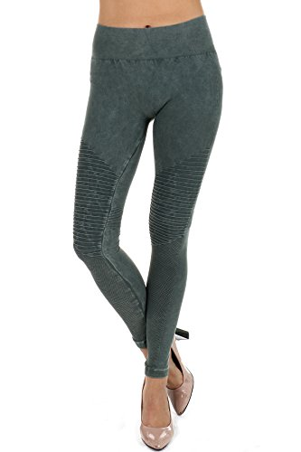 NIKIBIKI Premium Vintage Leggings - Super Soft - Capri & Full Length - Non See Thru - Made In USA (Nb7129 Pine Green, One Size)