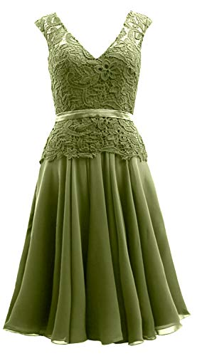 Dress Mother Olive Neck Bride Macloth Women Chiffon Lace V The Of Formal Midi Green Gown gq7q8