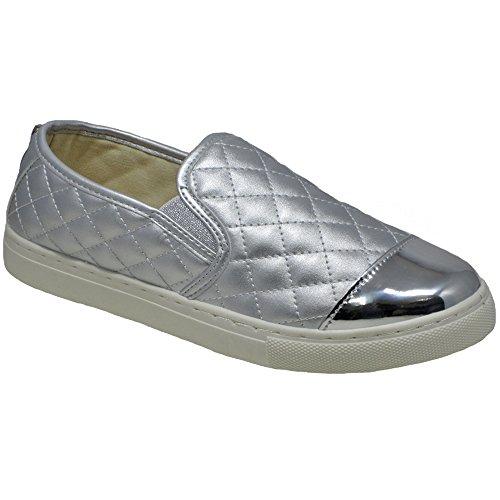 009 Ladies Shoes Womens Espadrilles Slip Silver Flat On Pumps IT6P8xAwq