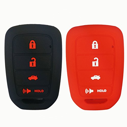 2Pcs Coolbestda Silicone Key Fob Cover Case Protector Remote Keyless Entry Shell for Honda Accord Civic Crosstour CR-V HR-V MLBHLIK6-1TA (Only Fit Straight key fob, Smart Key Fob Not Fit)