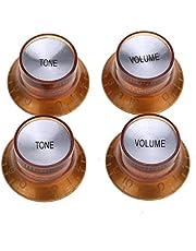 Musiclily Pro Tum Storlek Gitarr Reflector Cap Knobs 2 Volume 2 Ton Ratt för USA Les Paul Stil Elgitarr, Amber med Kromplatta (4 st)