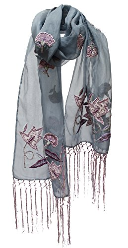 """Layla"" Floral Appliquéd Sheer Wrap Shawl Stole Scarf Runner Fringe Grey Blue"