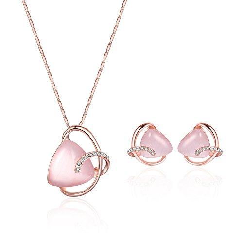 (JUST N1 Rhinestones Cat's Eye Stone Necklace Earrings Jewelry Sets for Women Wedding)