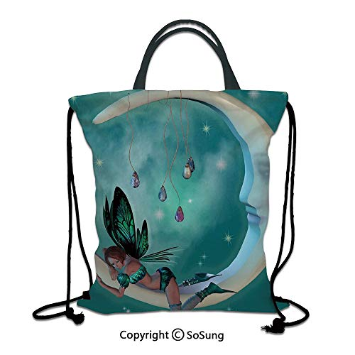 Moon 3D Print Drawstring Bag String Backpack,Beautiful Elf with Wings Fantastic Toonimal Faeire Pixie Starry Sky Cosmic Artwork,for Travel Gym School Beach Shopping,Teal White