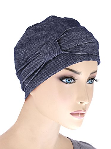 comfort-cotton-sleep-cap-headband-chemo-hat-beanie-turban-for-cancer-dark-denim