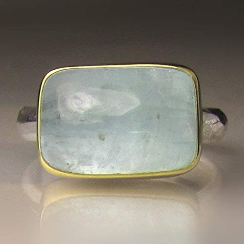 Aquamarine Cabochon Ring in 18k Gold and Sterling Silver