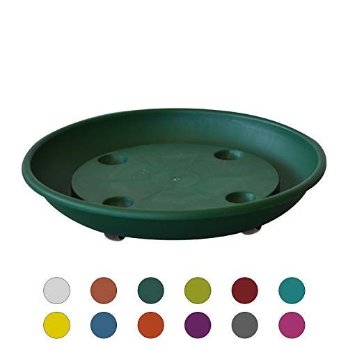 - ALMI Rolling Plant Stand Caddy Saucer Round 10 Inch Dolly for Balcony Garden, Plastic Accent Round Planter Drip Tray, Home Decor Planter for Plants, UV Resistant Paint, Indoor & Outdoor, Green