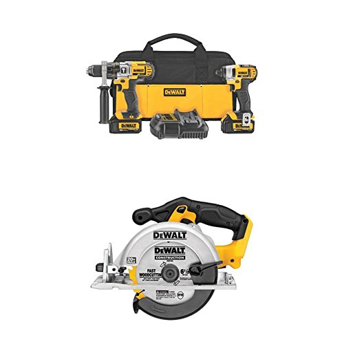 DEWALT DCK290L2 20-Volt MAX Li-Ion 3.0 Ah Hammer Drill and Impact Driver Combo Kit and DCS391B 20-Volt MAX Li-Ion Circular Saw, (Usa Drill Kit)