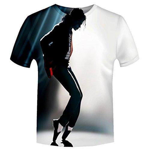 - Moji Unisex 3D Printed Shirts Michael Jackson Print Harajuku Summer Tops T Shirt