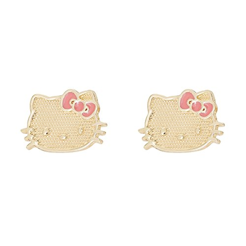 Hello Kitty 10k Yellow Gold with Pink Bow Stud Earrings