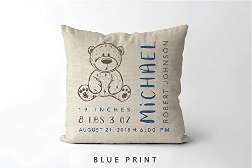 Dozili Teddy Bear Birth Stats Pillow Baby Boy Personalized Gift Birth Announcement Pillow Bear Nursery Decor Birth Stat Pillow