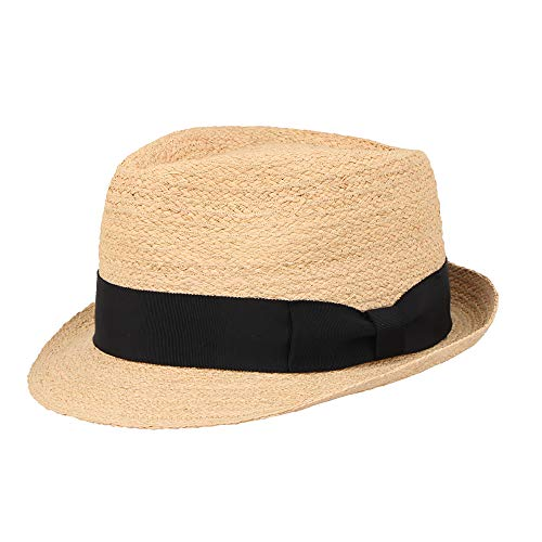 Unisex Summer Panama Raffia Straw Fedora Beach Adjustable Sun Hats UPF50 Mix Brown