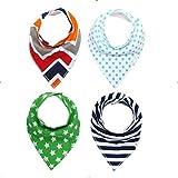 4Pcs Burp Baby Bibs Saliva Towel Arrow Cartoon Newborn Burp Cloths Triangle Cotton Bandana Accessories