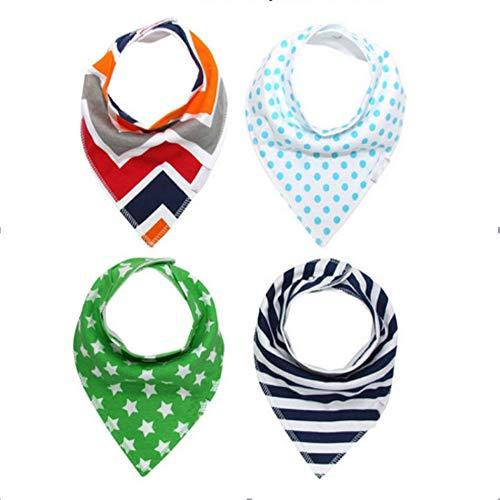4Pcs Burp Baby Bibs Saliva Towel Arrow Cartoon Newborn Burp Cloths Triangle Cotton Bandana Accessories by VADOLY