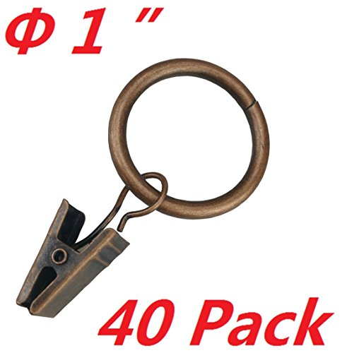 T O K G O 40-pack Copper Metal Curtain Rings with Clips (1