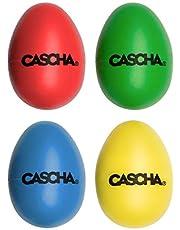 CASCHA Rasseleieren, percussie muziekinstrumenten voor kinderen, kleurrijke muzikale eieren, klankeieren, ritmeeieren, muzikale vroege opvoeding, kunststof eiershakers, muzikale eierset, 4 stuks