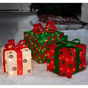 Set Of 3 Large Pre Lit Christmas Gift Boxes Yard Decoration Outdoor Indoor