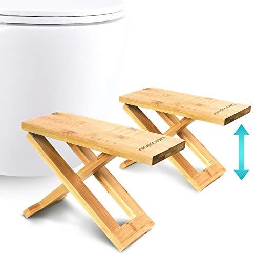 Physiologischer Toilettenhocker aus Bambus – Fußhocker aus Holz zusammenklappbar – Klapp- und Designfußstütze – gesunde…