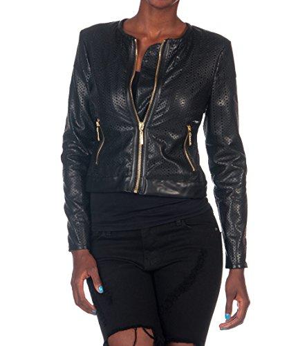La Belle Roc Women's Perforated Vegan Leather Jacket