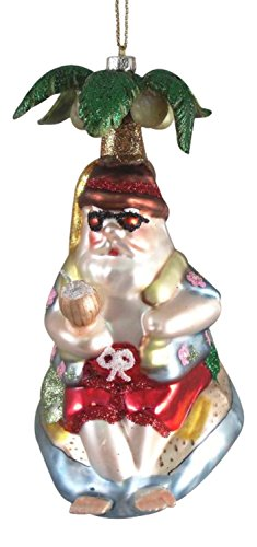North Star Santa Under a Palm Tree Christmas Holiday Ornament (Northstar Ornament)